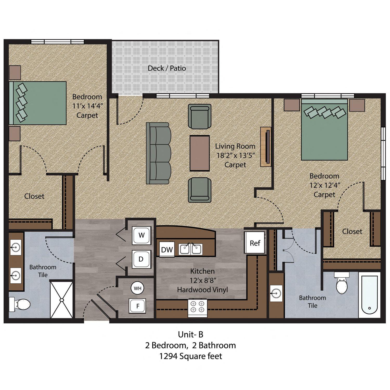 2 Bedroom - Unit B Floor Plan 5