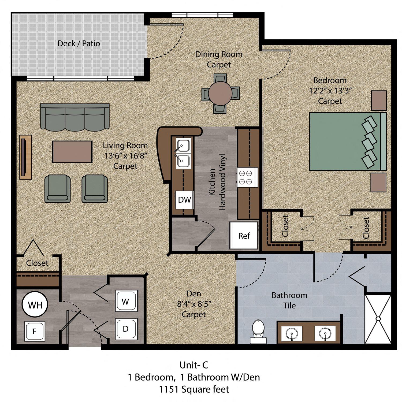 1 Bedroom Den Floor Plan 2