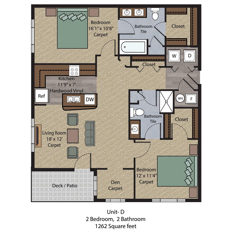 2 Bedroom - Unit D Floor Plan 4