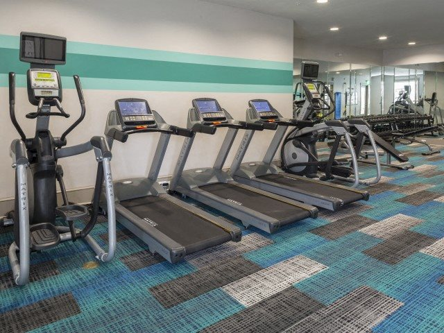 Fitness center at The Apartments at Blakeney in Charlotte, NC