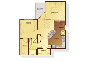 One bedroom one bathroom A3 floorplan at Apartments at the Arboretum in Cary, NC