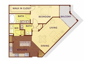 One bedroom one and a half bathroom A4 floorplan at Apartments at the Arboretum in Cary, NC