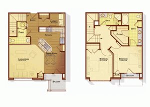 Two bedroom two and a half bathroom B5 floorplan at Apartments at the Arboretum in Cary, NC