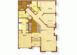 Three bedroom two bathroom C1 floorplan at Apartments at the Arboretum in Cary, NC