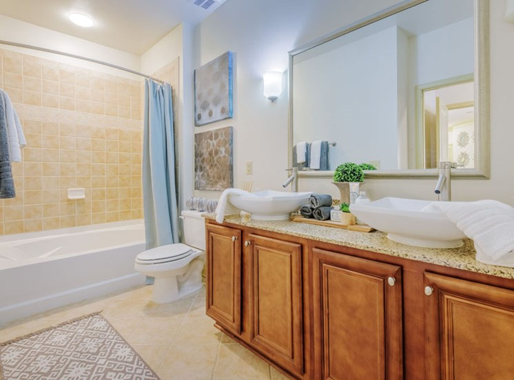 Spa-like bathrooms at Apartments at Arboretum