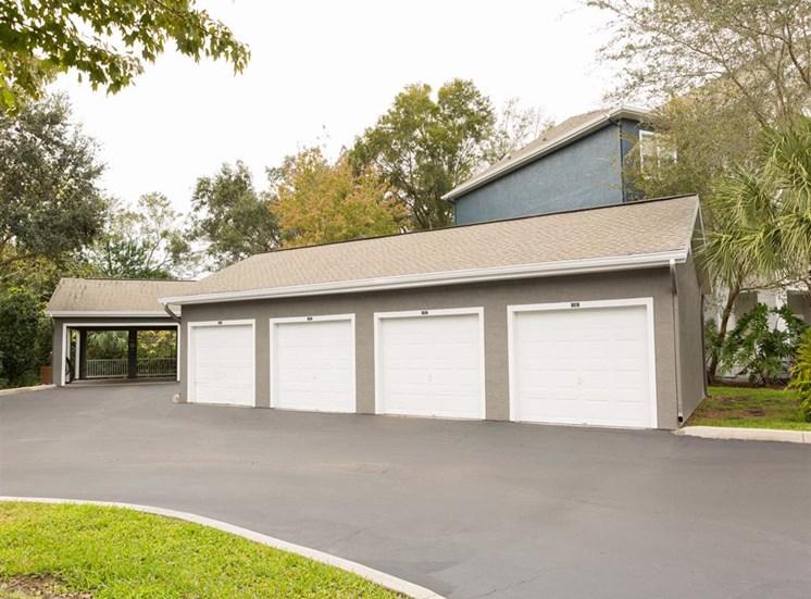 Detached garages at Arbor Walk Apartments in Tampa, FL