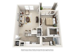 One bedroom one bathroom A1 floorplan at Arbor Walk Apartments in Tampa, FL