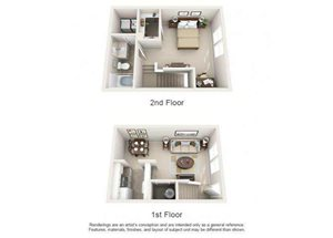 One bedroom one bathroom A2TH floorplan at Arbor Walk Apartments in Tampa, FL