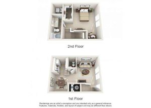 One bedroom one bathroom A3TH floorplan at Arbor Walk Apartments in Tampa, FL