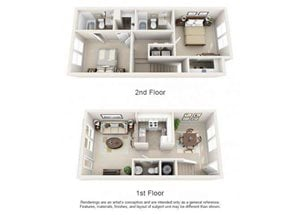 Two bedroom two and a half bathroom B1TH floorplan at Arbor Walk Apartments in Tampa, FL