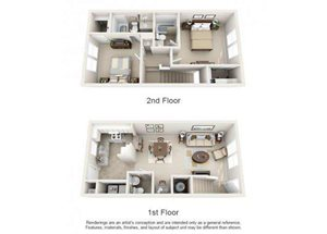 Two bedroom two and a half bathroom B2TH floorplan at Arbor Walk Apartments in Tampa, FL