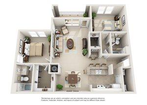Two bedroom two bathroom B4 floorplan at Arbor Walk Apartments in Tampa, FL