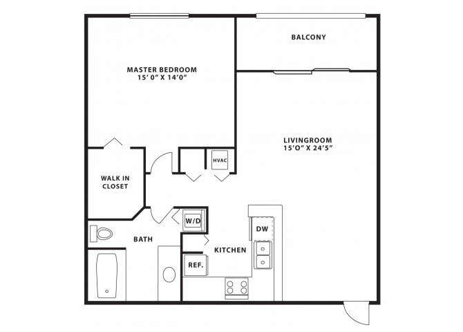 One bedroom one bathroom A1 Floorplan at Doral West Apartment Homes in Doral, FL