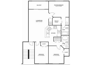 Three bedroom two bathroom C1 Floorplan at Doral West Apartment Homes in Doral, FL