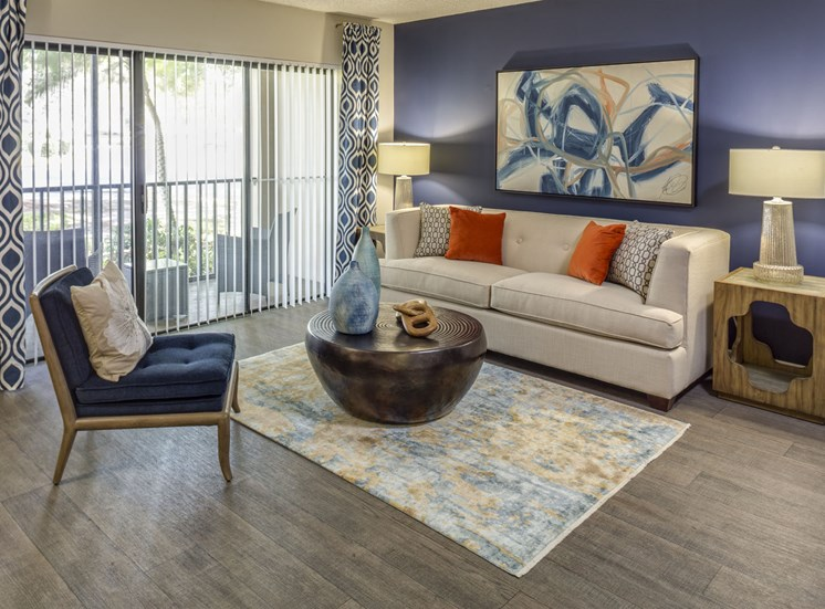 Living room at Hidden Harbor Apartments in Royal Palm Beach, FL
