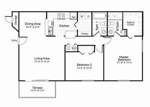 2 bedroom 2 bathroom B1 floorplan at Hidden Harbor Apartments in Royal Palm Beach, FL