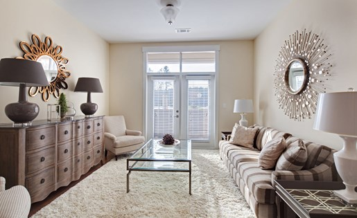 Living room at Lofts at Weston Lakeside Apartments near Raleigh in Cary, NC