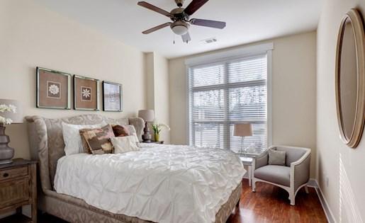 Bedroom at Lofts at Weston Lakeside Apartments in Cary, NC