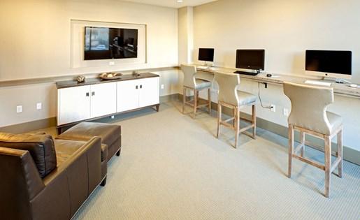 Media lounge at Lofts at Weston Lakeside Apartments in Cary, NC