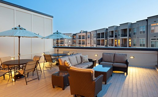 Stunning lounge at the Lofts at Weston Lakeside apartments in in Cary, NC