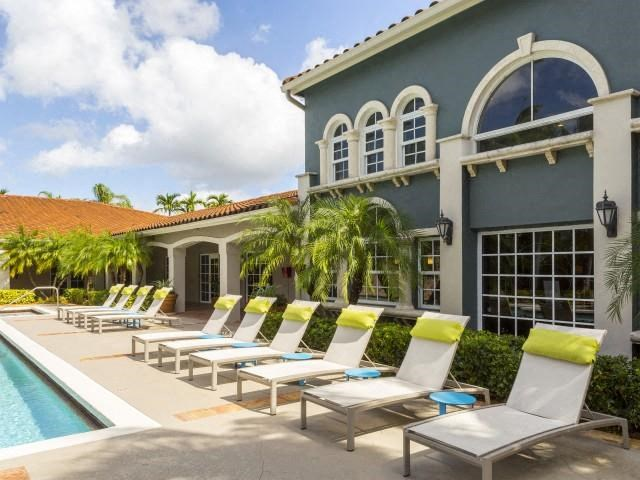 Pool side at Marela apartments in Pembroke Pines, Florida