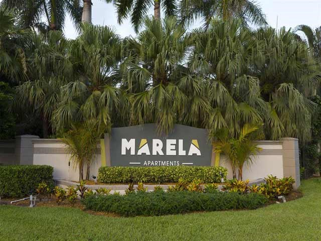 Monument sign at Marela apartments in Pembroke Pines, Florida
