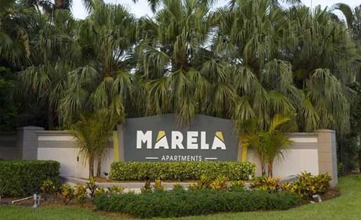 Monument sign at Marela apartments in Pembroke Pines, Florida