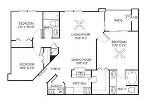 Three bedroom two bathroom C1 floorplan at Marela Apartments in Pembroke Pines, FL
