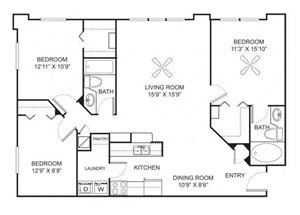 Three bedroom two bathroom C2 floorplan at Marela Apartments in Pembroke Pines, FL