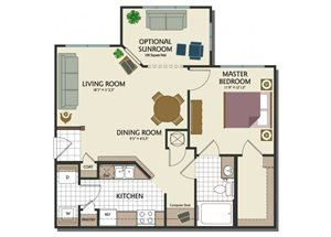 One bedroom one bathroom A1 Floorplan at Parks at Crossroads Apartments in Cary, NC