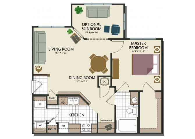 One bedroom one bathroom A1 Floorplan at Parks at Crossroads Apartments in Cary NC