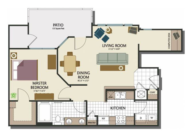 One bedroom one bathroom A2 Floorplan at Parks at Crossroads Apartments in Cary, NC
