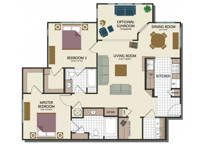 Two bedroom two bathroom B1 Floorplan at Parks at Crossroads Apartments in Cary, NC