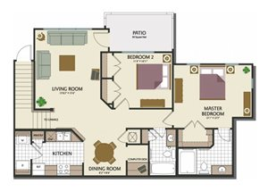 Two bedroom two bathroom B2TH Floorplan at Parks at Crossroads Apartments in Cary, NC
