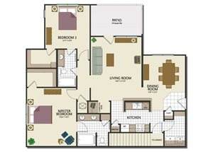 Two bedroom two bathroom B3 Floorplan at Parks at Crossroads Apartments in Cary, NC
