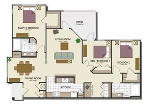 Three bedroom two bathroom C1 Floorplan at Parks at Crossroads Apartments in Cary, NC