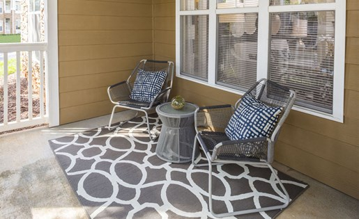 Private patios Park at Crossroads Apartments in Cary, NC