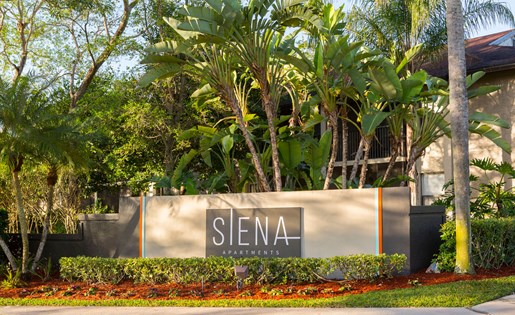 Monument sign for Siena apartment in Plantation FL
