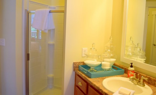 Master bathroom at Southpoint Village Apartments in Durham, NC