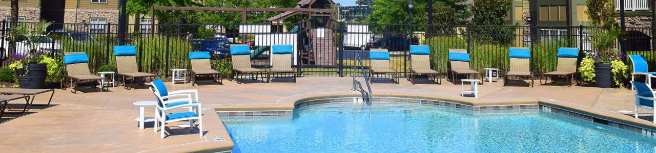 Pool banner at Southpoint Village Apartments in Durham, NC