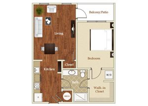 One bedroom one bathroom A6 floorplan at St. Mary\