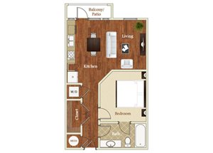 One bedroom one bathroom A7 floorplan at St. Mary\