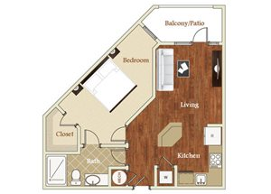 One bedroom one bathroom A9 floorplan at St. Mary\