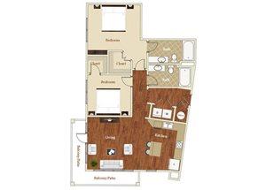 Two bedroom two bathroom B3 floorplan at St. Mary\