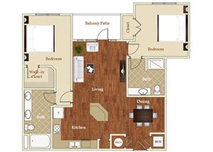 Two bedroom two bathroom B4 floorplan at St. Mary\