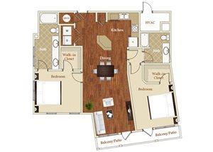 Two bedroom two bathroom B7 floorplan at St. Mary\