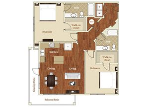 Two bedroom two bathroom B8 floorplan at St. Mary\