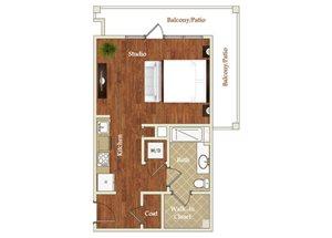 Studio one bathroom S10 floorplan at St. Mary\