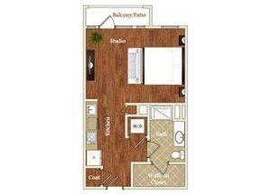 Studio one bathroom S3 floorplan at St. Mary\