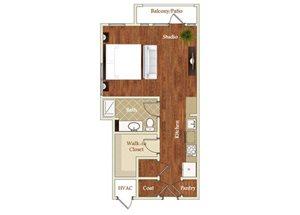 Studio one bathroom S5 floorplan at St. Mary\